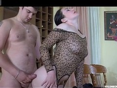 Immoral playgirl puts on cheetah imitate stockings moving down out of control in hawt quickie