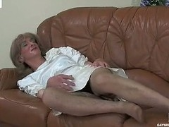Dolled-up sissy chap in a impressive white satin clothes ready to be butt robbed