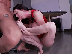 Mature Rayveness with gigantic knockers is too hot to stop sucking her mans rock solid meat pole