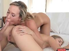 Teen babe Lia Lor and Brandi Love nasty threesome