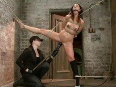 With weights added to her big nipples, slutty milf Mia Gold is tied up and has one leg in the air for a set to rights pussy domination. Having her mouth gagged, she can only moan. Her bit of all right sticks a big dildo in that wet cunt of hers and a vibr