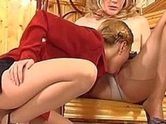 Evil gal feels irresistible desire to take up with the tongue pantyhosed slit right on stairs