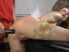 Sapphic chick makes widen-eagle whilst getting her booty strap-on fucked