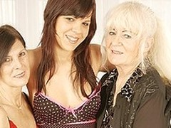 Three nasty old and juvenile lesbian babes at play