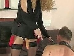Filthy chick treating baffle on the top of leash like her sex toy for strap-on pleasure