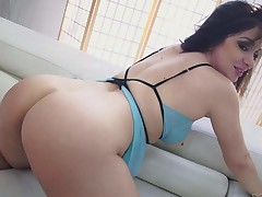 Lea Lexis is a lustful brunette that exposes her perfect bubble butt as John Beefy drills her soaked pussy from behind on the couch. Round booty babe Lea Lexis likes it doggy style