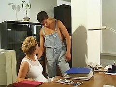 Blonde MILF secretary, cock-hungry &, oozing wet at work