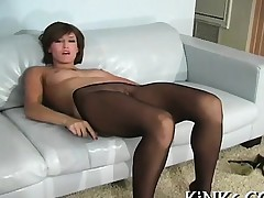 Shaved pussy and pleasing feet look in fancy tights