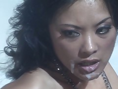 Kaylani Lei is pleased with cock cream on her lovely face