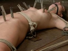 Serena is a big girl, she can relative to it! Her sexy body has been fastened on the floor, clothespins were used to induce some pain and a anal plug was put in her selfish hole. Now that she`s ready, I grab a dildo and a sex toy and begin fucking this wh