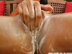 Give Me Pink Stunning brunette Lara pleasures her pussy in