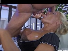 Pretty aged maid readily servicing her lusting for a fuck juvenile slaver