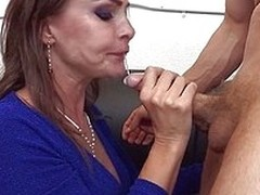 Mom Nora is fucking hot and horny. She needs to squirt but first she gives her guy a short, mean suck. She then goes beyond everything top of him to whirl his dick in reverse cowgirl and rubs her pussy while enjoying that abiding dick deep inside. Nora ca
