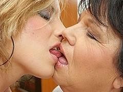 Kinky old lesbo doing a sexy having it away flirt