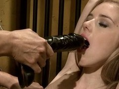 Mandy Bright power a auriferous toddler to blow a dildo