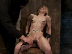 Skinny blonde Ash Hollywood with laundry pliers on her sexy nipples acquires a vibrator on her shaved pink cunt. coupled with occasionally the panhandler whips her cute tits. This abstain babe is excited coupled with she`s probably going to get fucked not