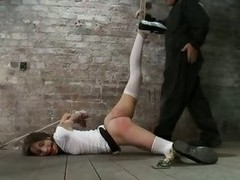 Amber Rayne gets hogtied with an increment of strung up to the fullest soaking her panties