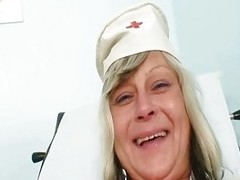 Nasty nurse mom id like respecting fuck Nada bonks herself together with big rubber toy