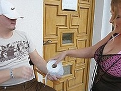 Large titted materfamilias getting naff on the toilet