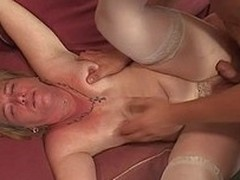 Tattooed GILF gets her overflowing with anal fall in fuck by younger dude