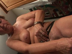Pierced housewife playing with in the flesh