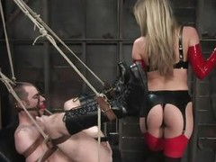 Watch this super sexy blonde mom teaching this bad lad a lesson in hard way. That cosset tied him up and gagged his mouth before fucking his world upside down! That cosset puts at bottom a netting at bottom and fucks him real hard. That cosset also locked