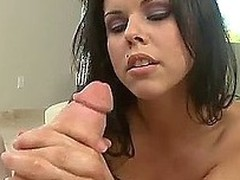 Cheeky brunette Diamond Kitty has blue-eyed hands that would make any cock jump up with joy and grow rock hard. She uses a lot of oil and both hands to make a guy cum hard!