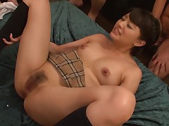 Small Asian darling gets her hairy twat fingered and fucked