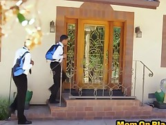 Wicked brunette mom Eva Long gets manhandled by two black dudes