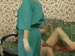 Steaming hawt nurse b liking for prescribes strap-on fucking treatment for a sick challenge