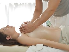 Slim nymph needs a relaxing and perverted massage session