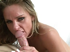Blonde Amanda Blow finds hot dude sexy and takes his hard snake