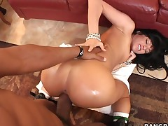 Brunette Sadie West has a great time playing with cum loaded cock