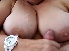 Cumming All Over her Big Fat Milf Titties