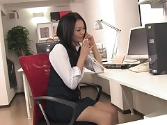 Caption: Sexy juvenile secretary gives her coworkers a double bj