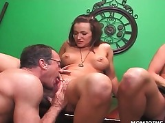 Breasty MILF and daughter cunt licked in 3some