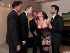 Sexy slut Tory Lane gobbles fro these horny jocks