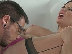 Red-haired milf Katja Kassin with a fierce appetite for unending sex seduces four-eyed shy looking bearded guy. She sucks his dick like a pro plus asks him respecting eat her pussy before hardcore fucking.