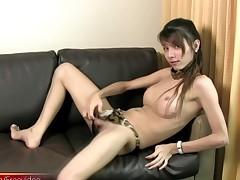 Teen t-girl strips down black satin lingerie and sucks cock