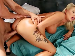 Blonde Jessica Nyx with big whoppers gets turned on then stuffed by Johnny Sinss rock solid cock