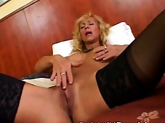 Bodybuilder blonde big tits riding cock doggy style