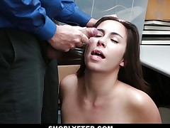 Sensual brunette doused with cum