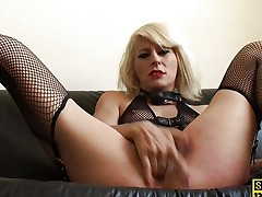 Ball gagged blonde masturbating