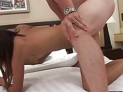 Hotel room fucking a sweet Asian doggystyle