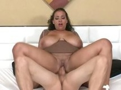 Sellena getting fucked missionary while the brush shafting huge breasts jiggle!