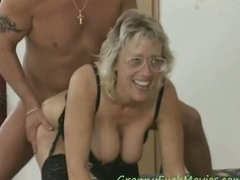 Big tits granny threesome