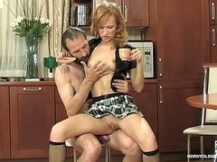 Upskirt girlie drinking a cup of tea during the time that getting hammered unconnected with older male