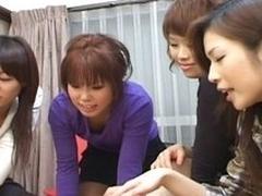 Several lickerish Japanese sluts have a blast toying with asian guy