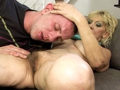 Grandma slut Irene gets that attention of young hot men thither her hairy bush.