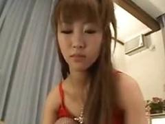 Japanese girl in hot lingerie is dominant